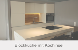 Blockküche mit Kochinsel